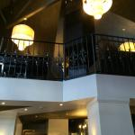 Lobby area looking up to the bar and restaurant