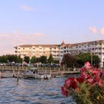 View of the Harbor Hotel from the dock on Seneca Lake