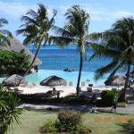 View from room of infinity pool and grounds
