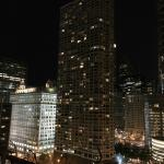 Nighttime rooftop view