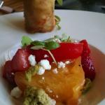 Heirloom tomato with chevre and amazing crab spring roll(: