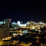 The view of the Atlantic City skyline at night from our 28th floor room, shortly before firework
