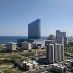 View of the ocean and city (with Revel in the background) from our 28th floor room!