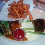 STEAK DIANE AND HERB CRUSTED SALMON with Sweet Potato Fries