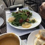 The spinach salad (without cheese) and the pears were so good!
