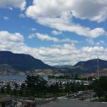 The view from our balcony.  Kelowna is a beautiful city.