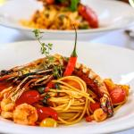 Spicy Prawns and Cherry Tomatos with Spaghetti, one of many pasta combinations on our lunch menu