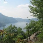 View of Lake Como from steep trail above Urio Carate