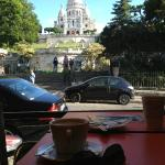 Breakfast at Le Carrousel with Sacré-Cœur view 5 minutes up the road from behind ibis hotel