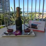 Complimentary anniversary drinks on the balcony