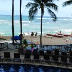 This picture was taken from the Outrigger Waikiki Beach Resort pool/beach area.