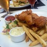 Fish and Chips and the hotel's microbrew beer.