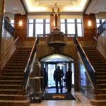 Grand staircase and hotel entrance.