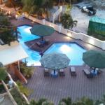 View from room 601.  Sunset over Simpson Bay and the pool area below.