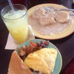 Omelet vodka and OJ and biscuits and gravy! All tasty!