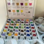 Colourful selection of breakfast tea, the breakfast is good and worth the € charge