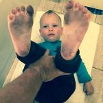 Baby feet dirty after few minutes of bare walking