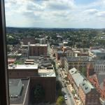 The wonderful view of Penn Square from our room on the 18th floor