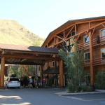 Front of hotel near mountains