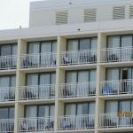 Oceanside view of hotel and room balconies