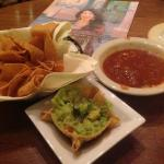 Chips, sauce, guacamole are Excellent