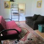 Another view of living area. Rug and Loveseat were covered with dog hair upon our arrival.