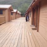 Rows of cabins off a boardwalk