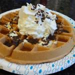 Waffle with toppings @ breakfast @ Hampton in Mentor, OH