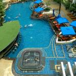 The central pool area as seen from 4th floor room.