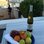 Welcome Fruit Basket and Santorini Wine compliments of Aria Suites
