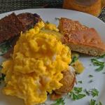 Breakfast hash with scrambled eggs, scrapple and sausage