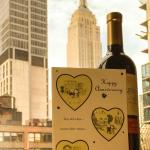 The bottle of wine and card from the staff for our anniversary