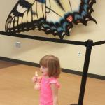 Shows butterfly exhibit to her baby dolls