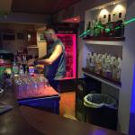 Chico behind the bar