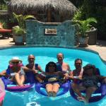 all of us enjoying the pool at Las Cabana