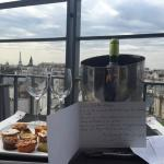 The wine and treats we were given on our private balcony with the Eiffel Tower in the background