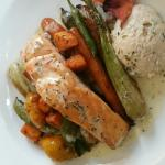 Fillet salmon with salmon mousse and vegetables