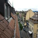 View of street below from bathroom window