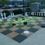 Chess set on hotel grounds
