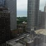 Millennium Park with Lake Michigan in the background.  From 25th floor of The Wit Hotel.