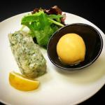 Sea bream tartare perfumed with citrus and olive oil sorbet