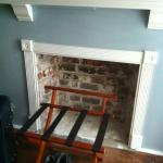 faux fireplace (above was a mantle and flat screen)