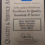 Quality and service AWARD  BEST WESTERN COLOMBE HOTEL 2015