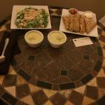 In room dinner of asparagus soup, quesadilla, & chicken salad