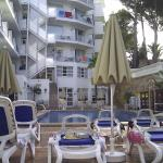 A view of the sunbeds and pool