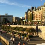 Empress Hotel and Harbor Walk at sunset