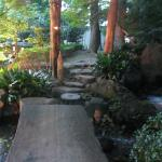 Path over moving water in the Japanese Garden