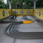 Tamiya Mini 4WD races cars - kids love the track.  Buy cars at the rec center or order online