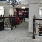 Elegant seating areas and entrance to the bar