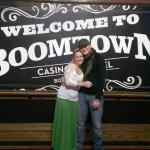 My wife and I outside the entrance to the casino @ Boomtown